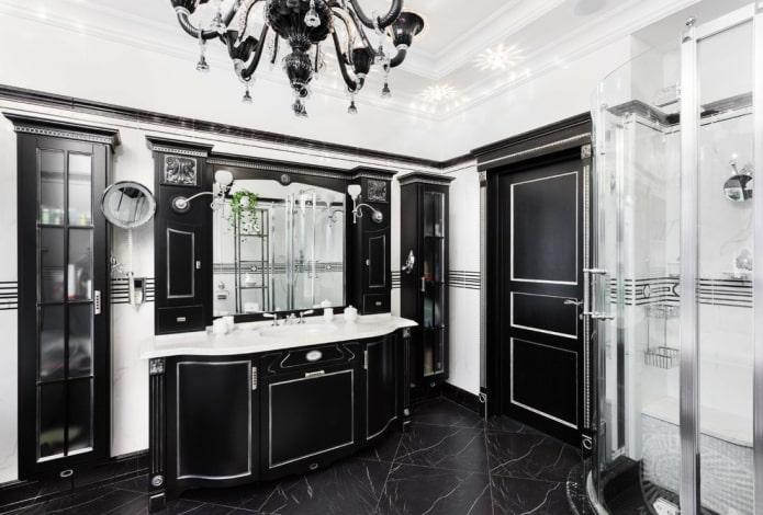 Фигурная черная мебель на белом фоне