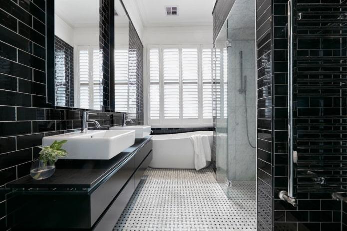 черная тумба в ванной