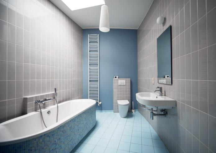 интерьер ванной в серо-синих тонах