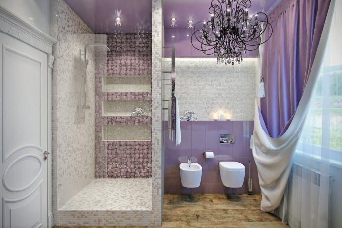 ванная с душевой в сиреневых тонах