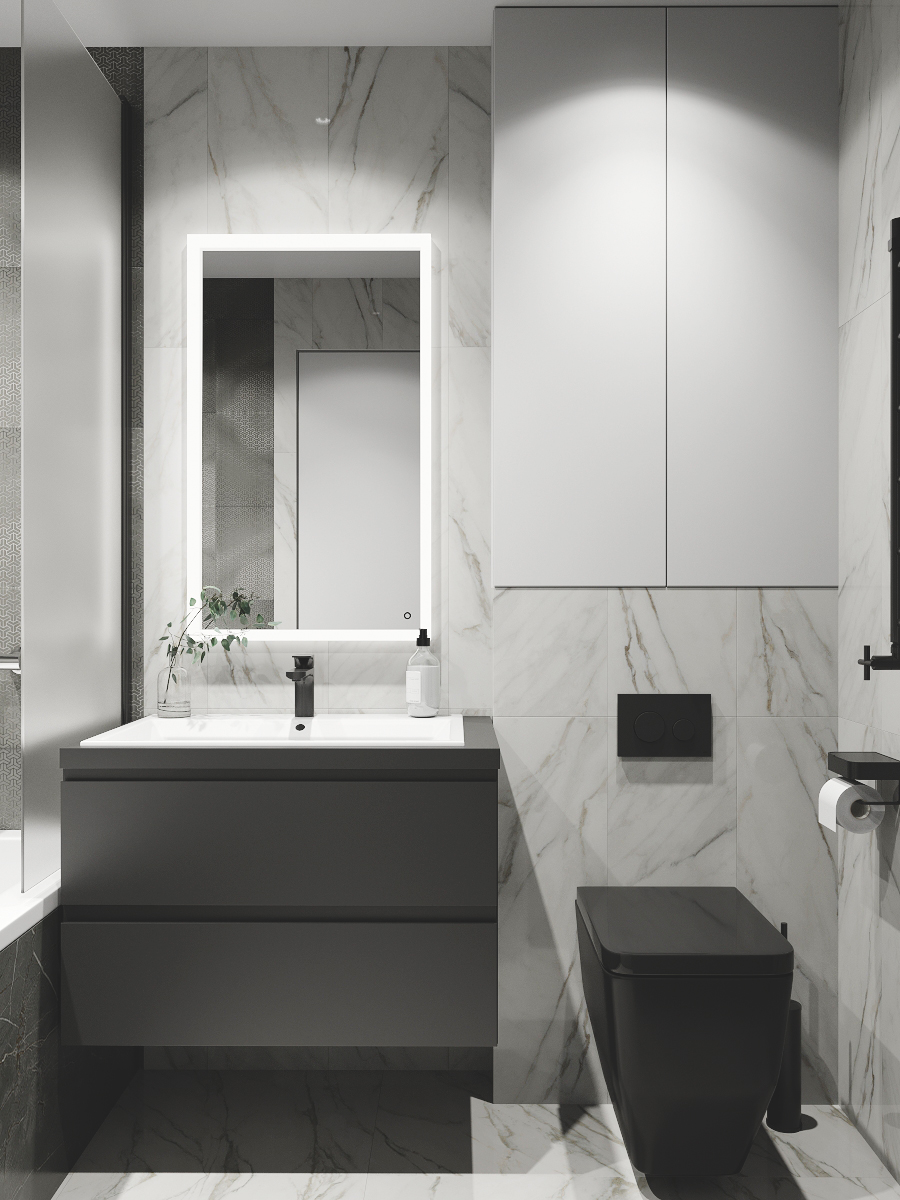Фото № 10: 20 вариантов оформления ванной в сером цвете
