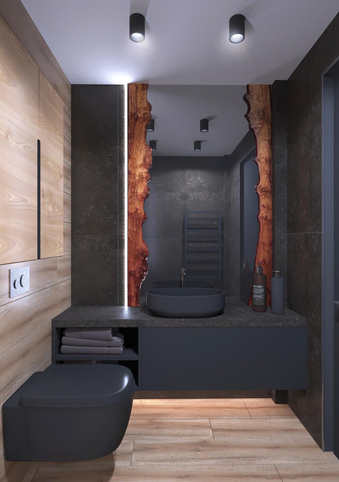 Фото № 11: 20 вариантов оформления ванной в сером цвете