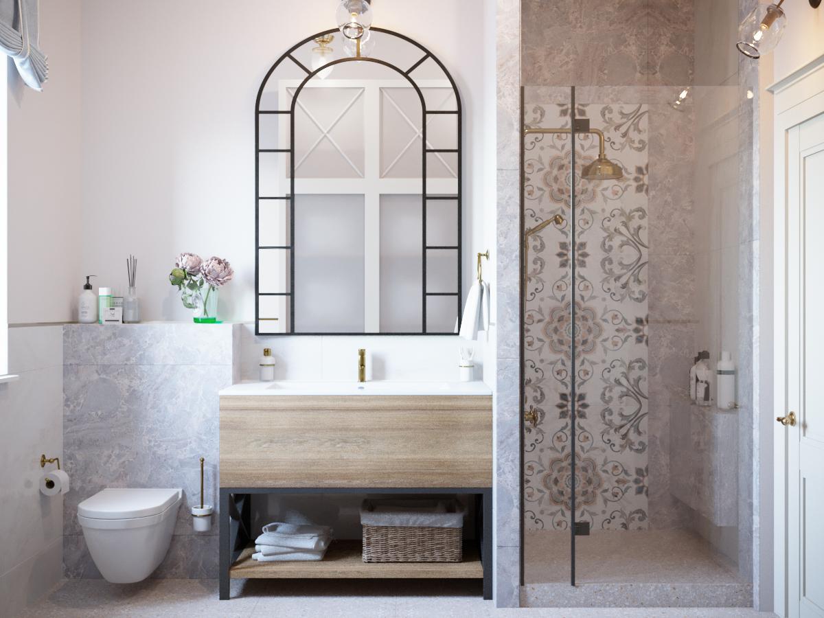 Фото № 13: 20 вариантов оформления ванной в сером цвете