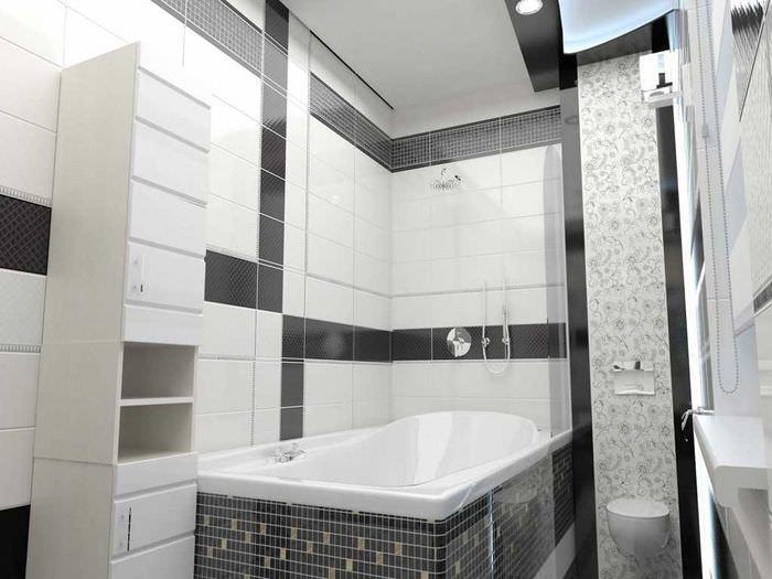 вариант красивого интерьера ванной в черно-белых тонах