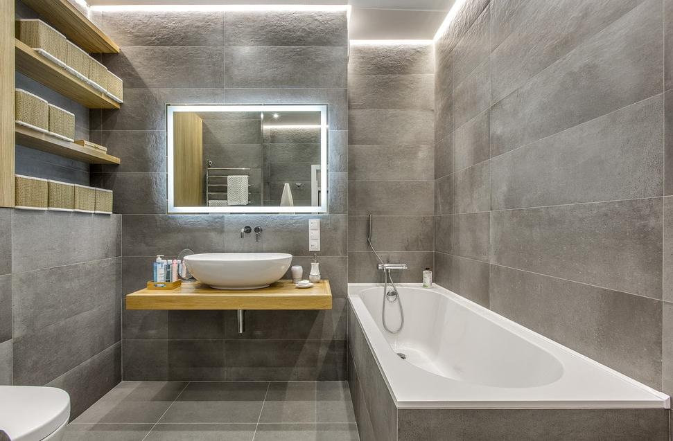 Серый кафель в ванной. Идеи дизайна, варианты