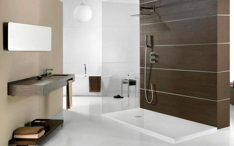 Интерьер ванной комнаты с душем без кабины